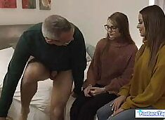 Horny couple in 3some with stepdaughter