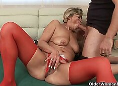 Grandma`s pussy gets fucked by her toy boy