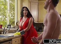 Chubby Busty Stepmom`s Cum Cleaning - Sybil Stallone