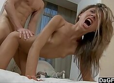 Watch this little slut scream while she`s fucked from behind