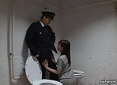 Asian prisoner sucking off the guard`s penis
