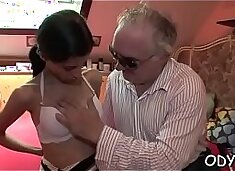 Horny young babe gives an old stud nice blowjob and fucks