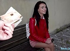Public Agent Rip my nylons and fuck my pussy hard outside