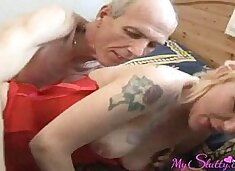 Mom loves to be fucked with grandpa`s cock