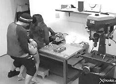 Big-titted brunette wife cheats at work with a freak and caught by security cam (hard, big cock, moa