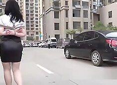 Chinese Bondage and Walk outside