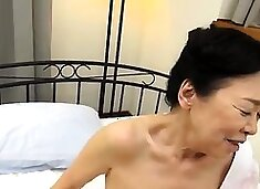 Horny Asian granny gets her pussy fingered, toyed and fucked