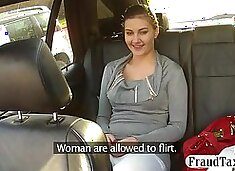 Big natural tits amateur flirts with her taxi driver and they end up having sex in the car