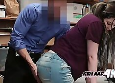 After shoplifting hot brunette gets fucked hard by horny officer