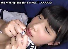 Japanese schoolgirl in action