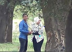 Arab couples in public park