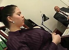 Amazing chubby girl with big titties pleases older dude