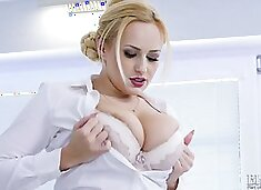 Totally horny AF busty blonde Angel Wicky enjoys teasing her Czech pussy
