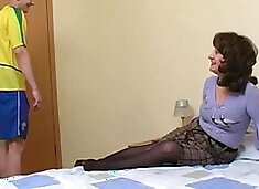 Naughty Russian mom in pantyhose fucking the younger neighbor guy