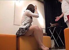 Pretty Jap rides a dong in hidden cam massage video