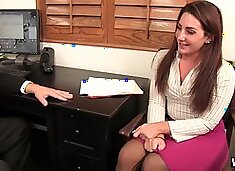 Tight skirt secretary Savannah Fox wants the stud to fuck her