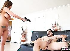 Curvy chick with big boobs Brooklyn Chase goes wild on a hard hose