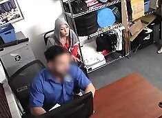 Teen blonde cutie on officers fat dick at his office
