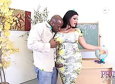 Big tits teacher Angelina screaming while fucked in classroom