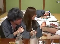 Asian japanese wife gets fucked by 3 friends while her husband was drunk