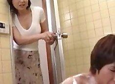 Japanese mom son shower